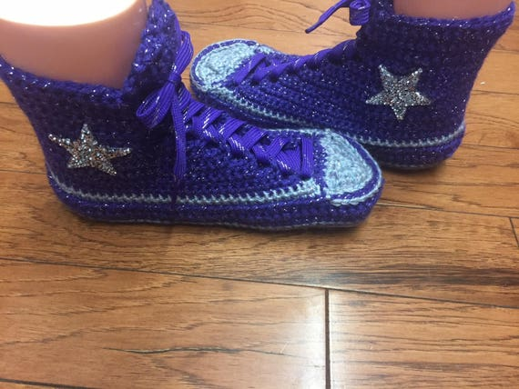 house 10 tops slippers converse 181 crocheted Crocheted purple Sneaker Womens converse Shoe slippers high top Slippers Tennis shoes high 8 CUgwqp6n