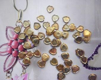 72 Vintage Brass 8mm Heart Findings