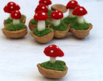Felted Mushroom in a nut shell - Waldorf  inspired