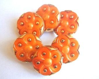 6 Antique vintage buttons, orange with gold color plastic flower buttons 21mm