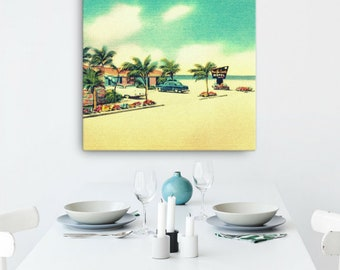 Mid Century Art 30x30, Father's Day gift ideas Mid Century Motel Art Outdoors Art, Outdoors Gift Beach Art Beach Decor Canvas Beach Wall Art