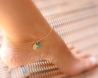 Hamsa anklet - Turquoise Anklet - Ankle bracelet Turquoise Jewelry - Gold Anklet -  Dainty Anklet - Hamsa bracelet Foot jewelry