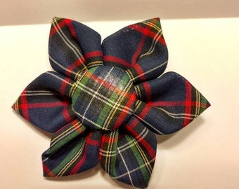 Blue and Red Plaid Flower