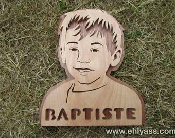 Personalized with name in fretwork Ehlyass child portrait