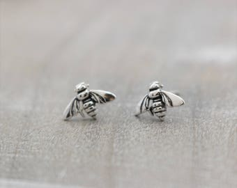 Bee Stud Earrings - Silver Bee Earrings - Insect Jewelry - Gift for Her - Bee Keeper