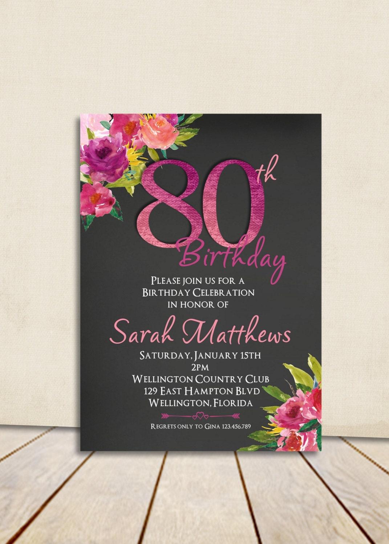 Watercolor Floral Chalkboard 80th Birthday Invitation