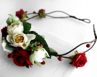 Wedding Flower Crown & Groom's Boutonniere, White Red Wedding Set Flower Hair Wreath, Boutonniere, Bridal Bracelet, Wedding Accessories Set