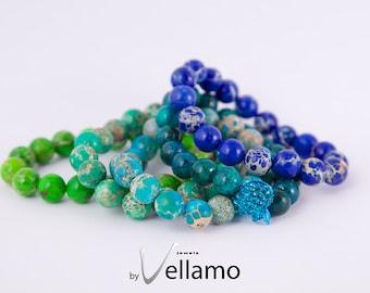 Clearance Bracelet round jasper and chrysocolla gemstones, stretch bracelet, pick your color, blue, turquoise, green beaded elastic bracelet