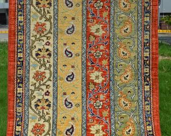 5 by 3'2 ft Beautiful Maresali Botehs Pattern Natural Dye Carpet