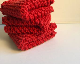 red dish cloths, hand knit wash cloth, set of 3