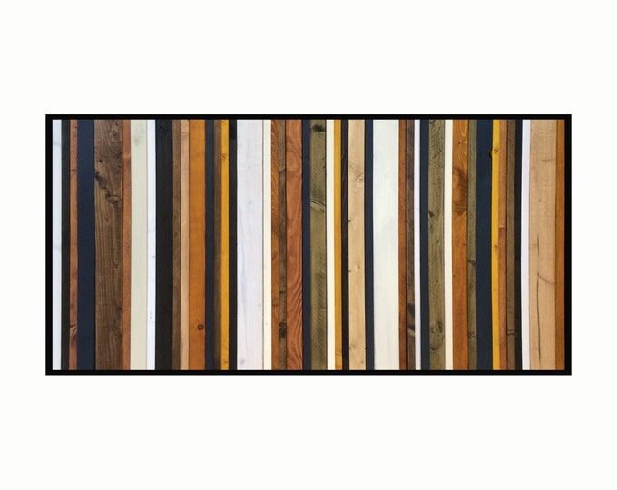 """Reclaimed Wood Art- """"Stormy Sky"""" -in Browns, Tan, Navy, Cream and Gray Stripes - Modern Wood Wall Art - Abstract Wood Art"""