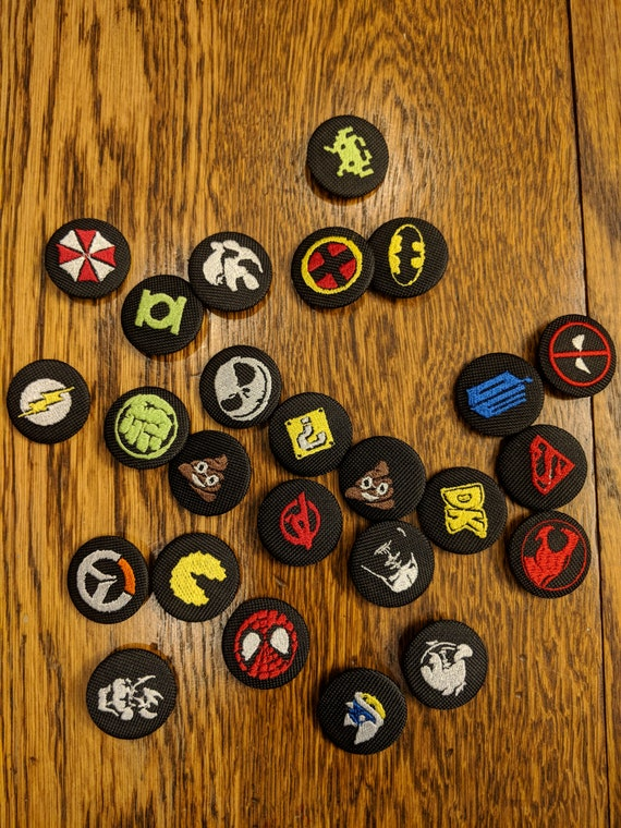 Embroidered 1 1/4 Buttons (comics, scifi, horror, geek, nerd, gamers, gaymers)