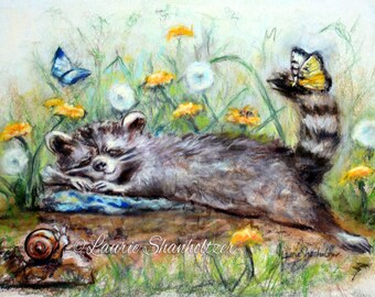 "Raccoon Art Print, children Nursery, baby animal, kids decor, Flat canvas print,   ""Snoozing On A Lazy Afternoon"" Laurie Shanholtzer"