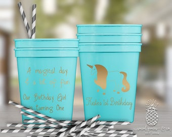 Personalized Plastic Cups | Unicorn Party Cups | Party Favor Cups | Birthday Party Cups | Party Cups | Plastic Cups | Celebration Cups