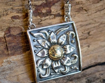 Sunflower pendant, sterling silver necklace, yellow gold necklace, Vintage syle silver pendant, mixed metal necklace -  Sunflower N0427A
