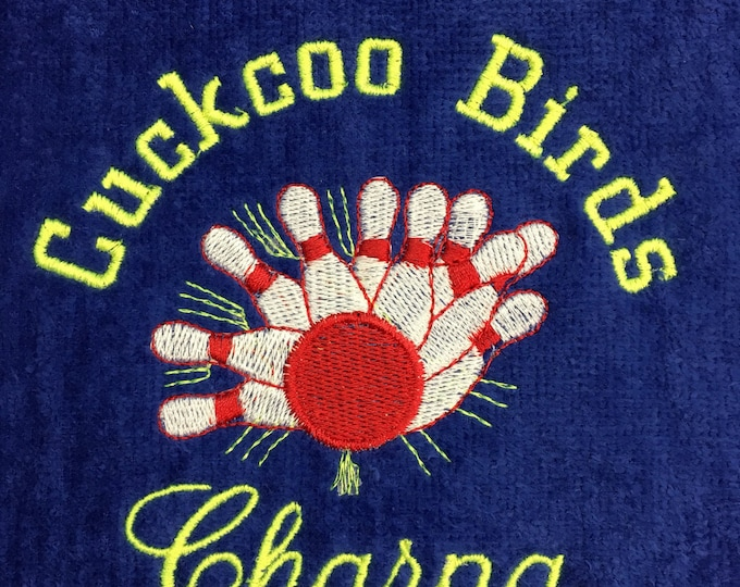Bowling, Personalized, Bowling towels, embroidered, bowling gift, one or two  lines.