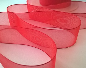 25mm Red Organza Ribbon