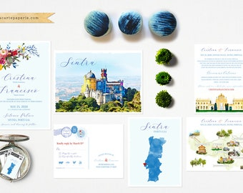 Sintra Portugal Illustrated Europe Destination wedding invitation set colourful watercolor Deposit Payment