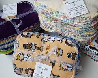 UNPAPER FAMILY CLOTH / Set of 24 (2 Dozen) / Baby Wipes, Reusable Wipes, Bamboo Velour Bamboo Baby Terry, Cotton Velour, Toilet Paper, Eco