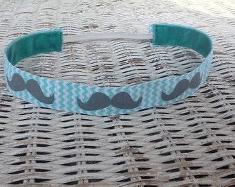 Turquoise Mustache Headband - Womens Chevron Headband