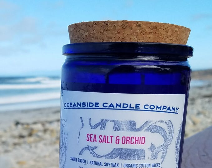 Sea Salt Orchid - 12 oz Blue Jar - Soy Candle