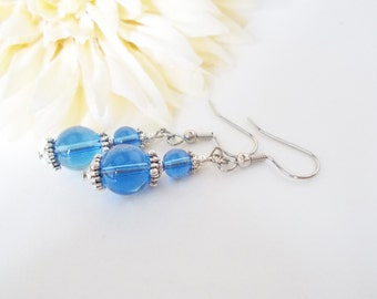 Sky Blue Earrings Something Blue for Bride Bridesmaids Gift, Clip On Spring Wedding Jewelry Sterling Silver Earrings, Teen Girl Gift for Her
