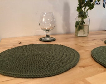 Sage Green Crochet Placemats- Set of 2