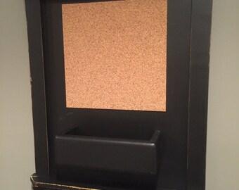 Mail Organizer Chalkboard with Cork, Shelf and distressed black Frame