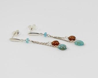 garnet and apatite earrings in sterling silver, dangle gemstone earrings in sterling silver