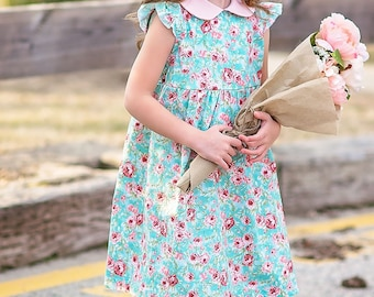 Lizzy girls dress, floral toddler dress, peter pan collar, pink and blue florals