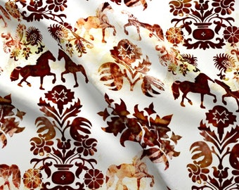 Neutral Horse Damask Fabric - Horse Damask By Kociara - Cottage Chic Horse Damask Decor Cotton Fabric By The Yard With Spoonflower