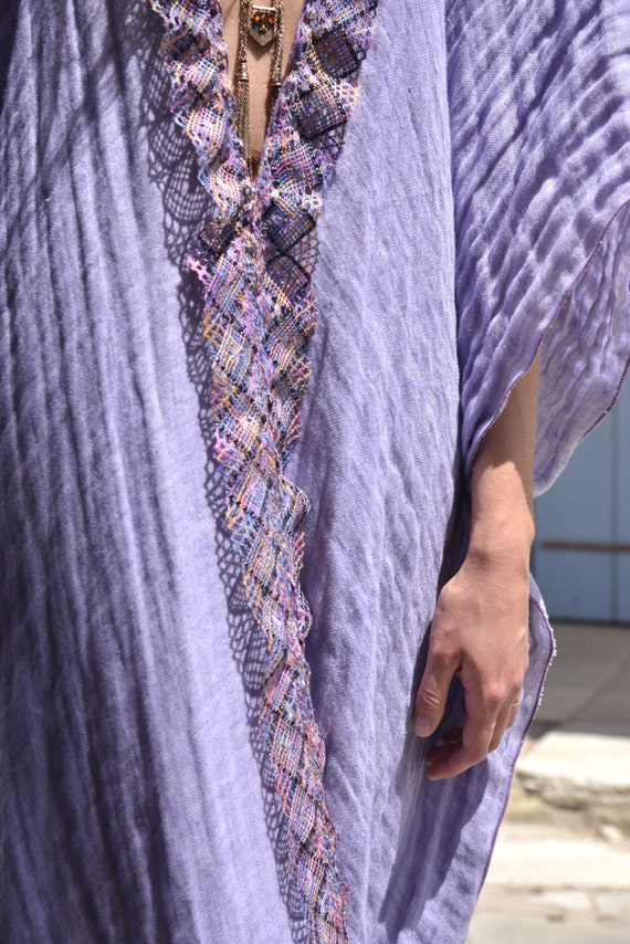 Beach linen cover up ultra detail poncho long Purple CLEO cotton soft lace Beautiful v1wAOt