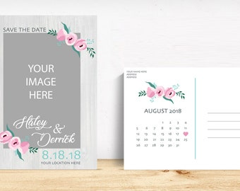Rustic Save the Dates design, Custom Save the Dates available for custom colors of choice, name, info and photos