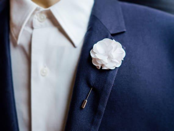 Suit flower lapel pin wedding boutonniere white lapel pin mightylinksfo
