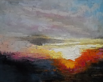Impressionist Sunrise Oil Painting, Impasto Landscape Painting,  God's Glory by Carol Schiff