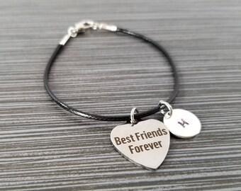 Cord Charm Bracelet - Cord Bracelet - Black Bracelet - Best Friends Bracelet - Best Friend Gift - Gift for BFF - Best Friends Forever Gift