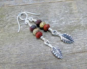 Red Creek Jasper Dangle Earrings, Beaded Silver Earrings, Charm Earrings, Boho Earrings