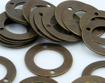 50 Pcs Antique brass tone Brass 16 mm Circle two 2 hole connector Charms ,Findings 583AB-25