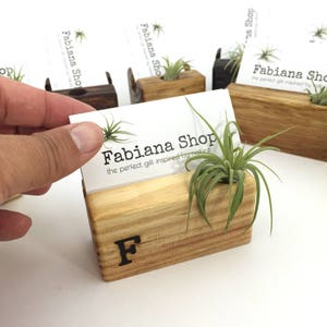 Business card holder etsy business card holder desk decor office decor recipe card holder with air plant reheart Gallery