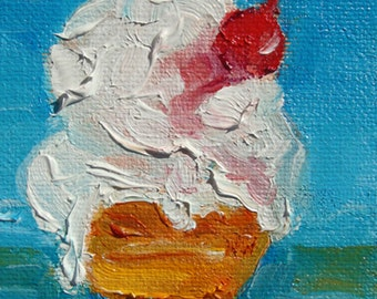 """MELTING, original oil painting, miniature oil painting, art & collectibles, 3.5x2.5"""""""