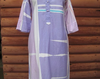 Vintage Abstract Geometric Shape Katherine Ogust Tunic Dress with Chinese Knotted Buttons