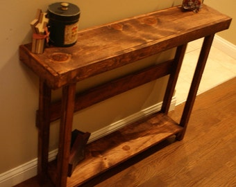 Beautiful RUSTIC American Walnut Stained SOFA Hall Entry Accent Primitive  Wood Table W/Bottom Shelf
