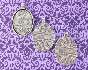 50 Pk - 30x40mm Oval Pendant Trays - Antique Silver (Platinum) Color - Vintage Style Oval Blanks - For Clear Glass or Resin - 30 x 40 mm