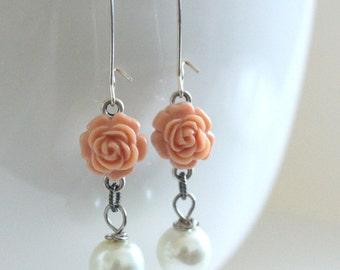 Coral Earrings, Pink Earrings, Bridesmaid Jewelry, Coral Wedding, Spring Earrings, Flower Jewelry, Peach Echo, Girlfriend Gift, New Mom Gift