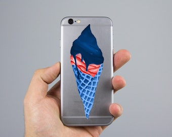 Glossy Sticker - Blue and Red Ice Cream Cone / Digital Painting Laptop Sticker