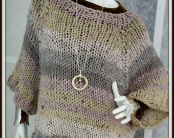 SWEATER WOMAN KNITTED  Poncho With Sleeves Oversized  Bulky