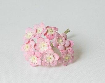 15  mm / 10  mixed cream pink paper flowers