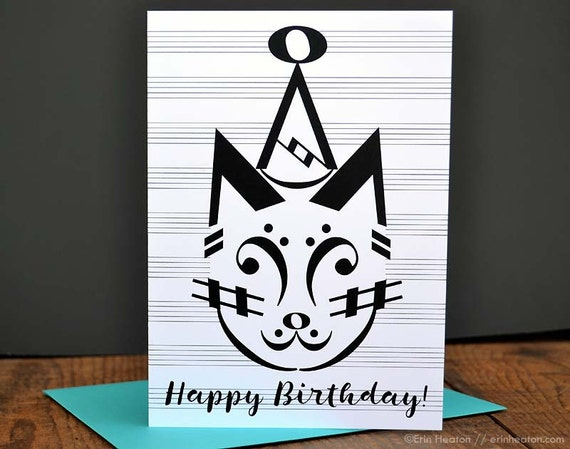 Music birthday card party cat birthday card music note like this item bookmarktalkfo Gallery