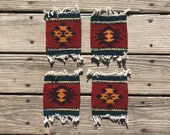 Set of 4 Matching Handwoven Zapotec Coasters from Oaxaca, Mexico