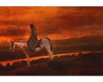 Fine Art Print of 'Sunset Warrior'. Native American Indian. Tribe, American West, horse,horseback rider, sunset. Digital art. JoWalshArt